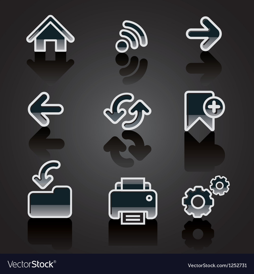 Glossy web navigation icon set vector | Price: 1 Credit (USD $1)