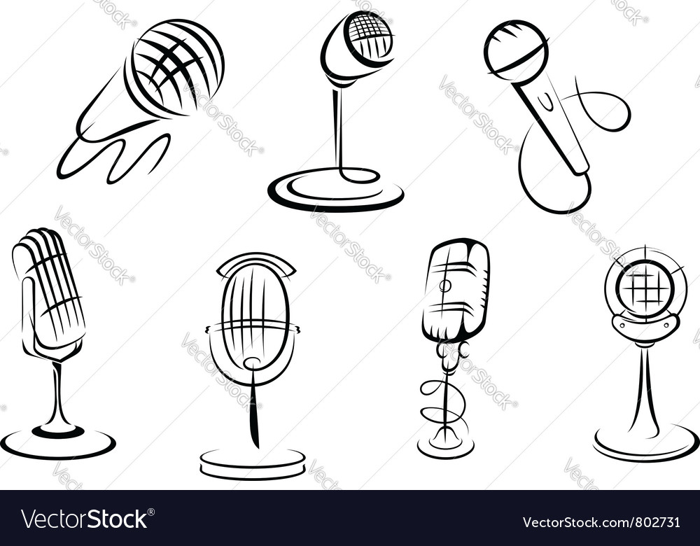 Retro microphones vector | Price: 1 Credit (USD $1)