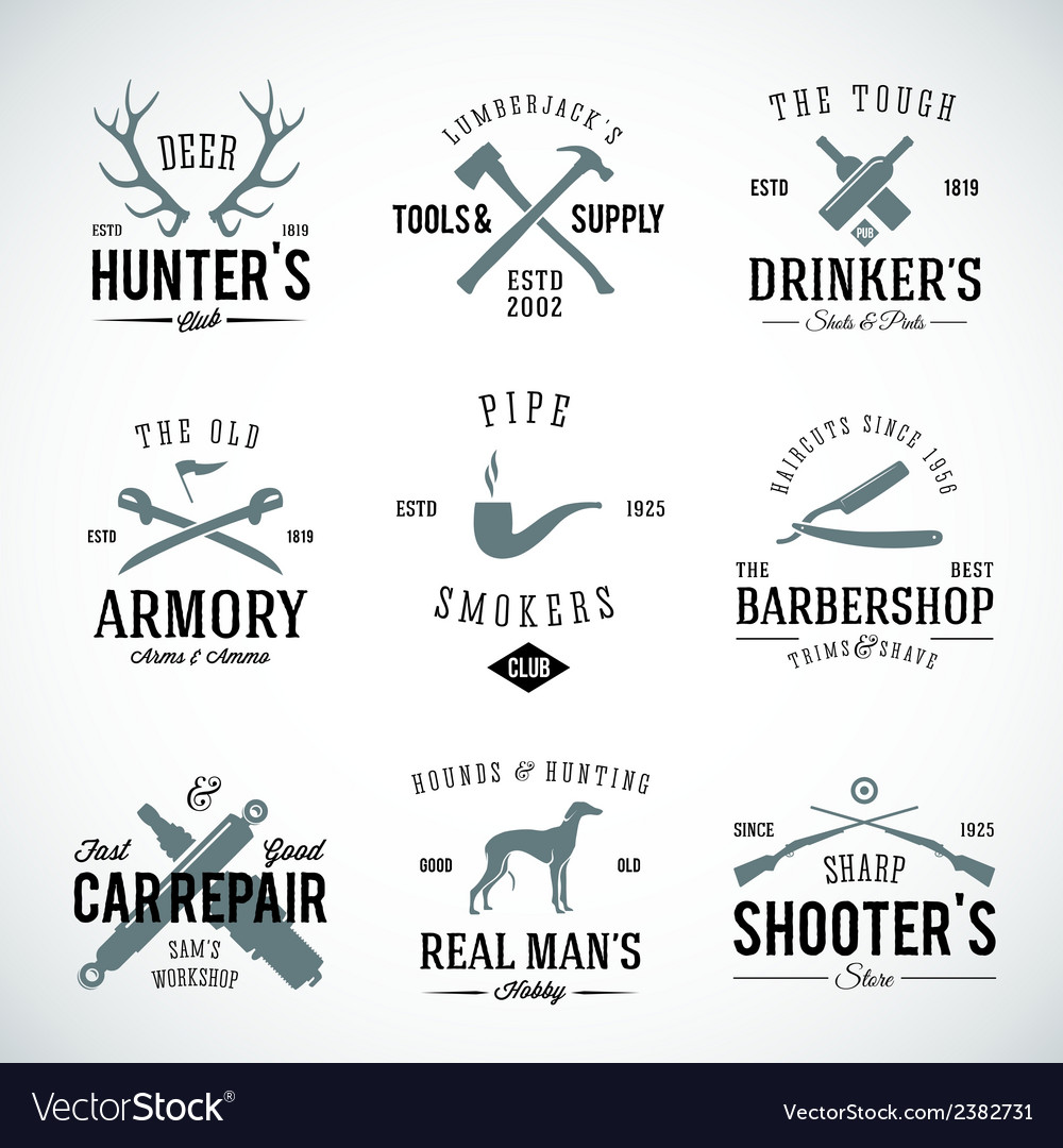 Set of vintage labels with retro typography for vector | Price: 1 Credit (USD $1)