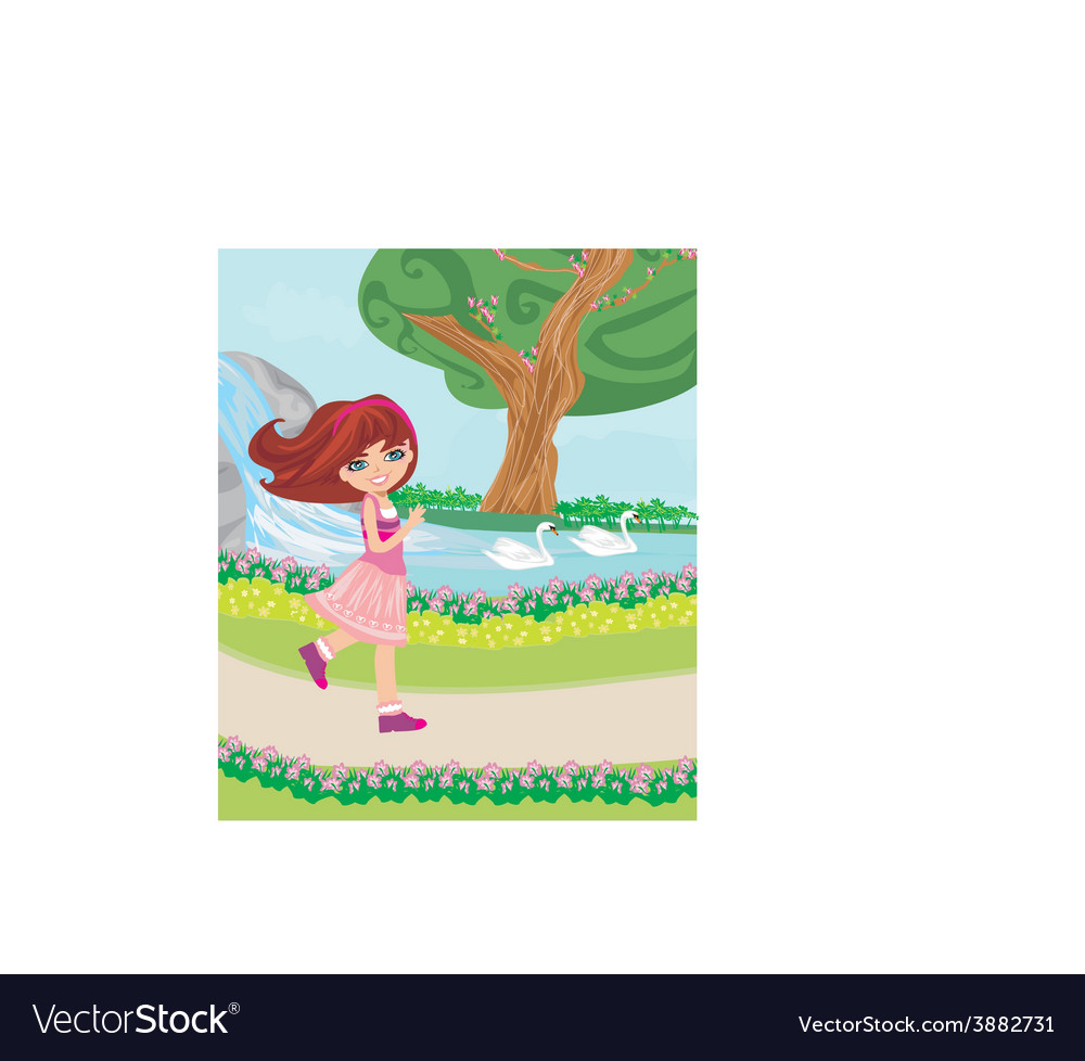 Sweet girl in the park vector | Price: 1 Credit (USD $1)