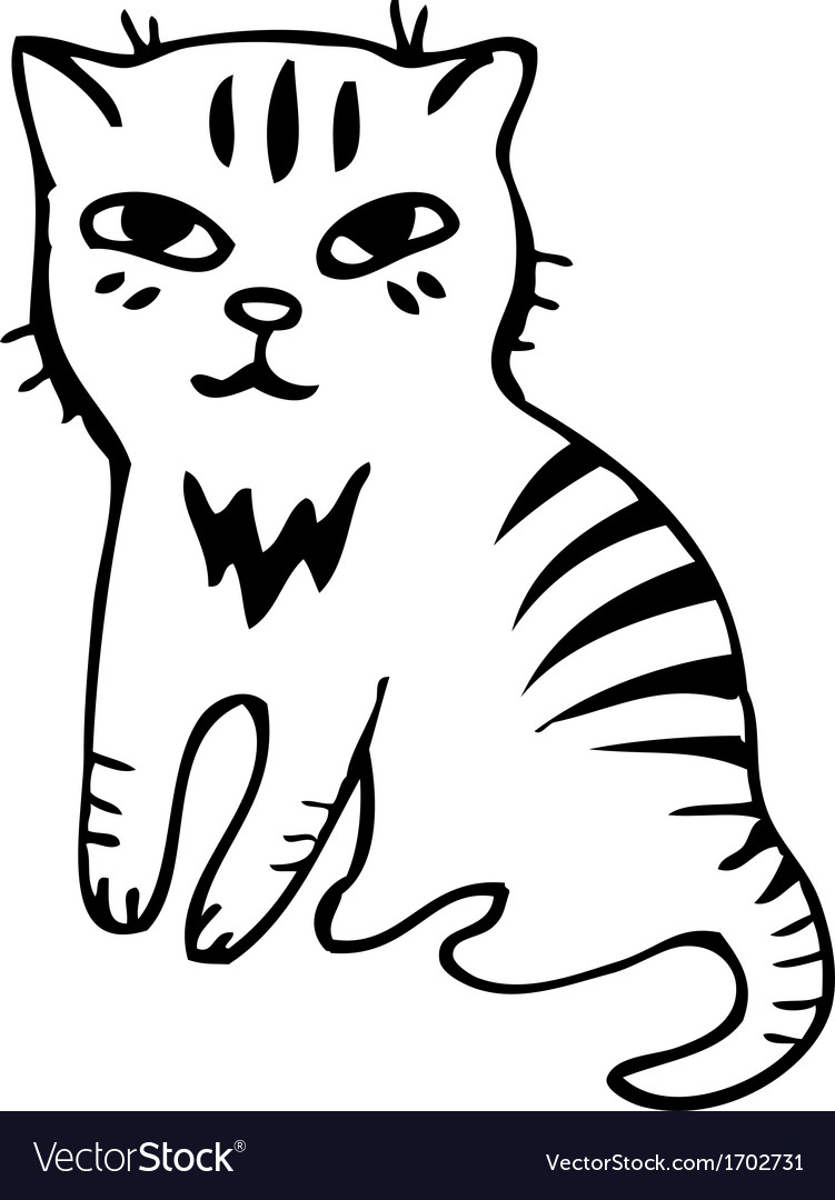 Tabby cat black outline sketch vector | Price: 1 Credit (USD $1)