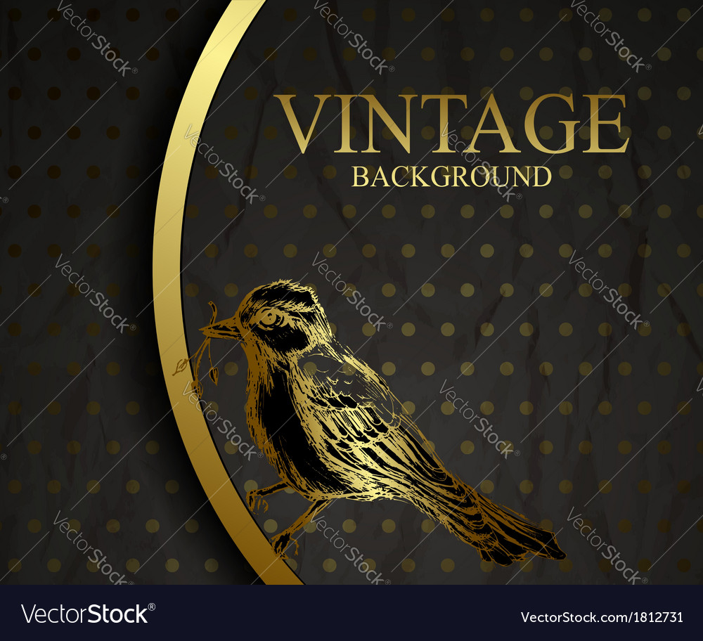 Vintage background with bird vector | Price: 1 Credit (USD $1)