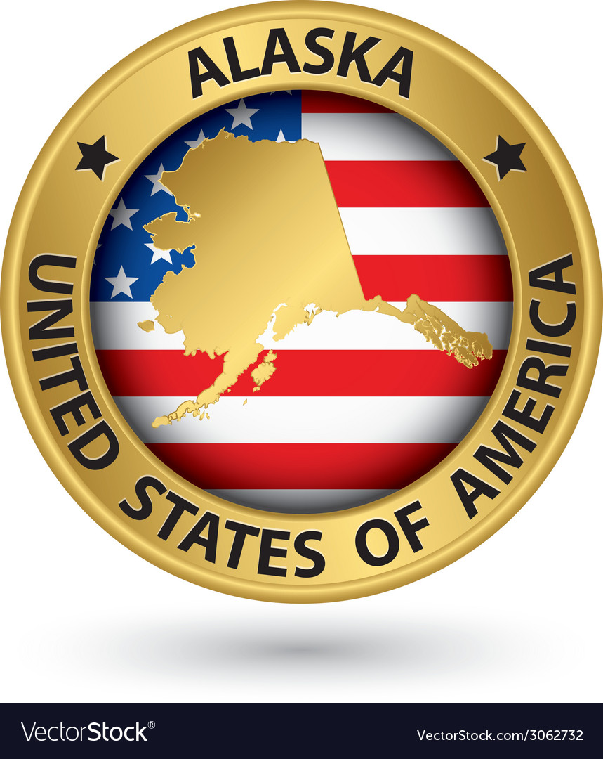 Alaska state gold label with state map vector | Price: 1 Credit (USD $1)