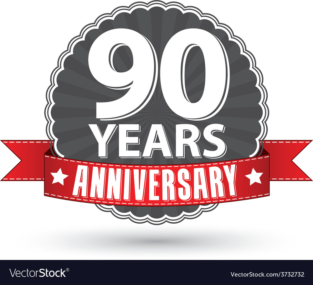 Celebrating 90 years anniversary retro label with vector | Price: 1 Credit (USD $1)