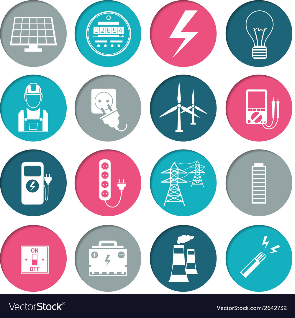 Electricity power icons set vector | Price: 1 Credit (USD $1)