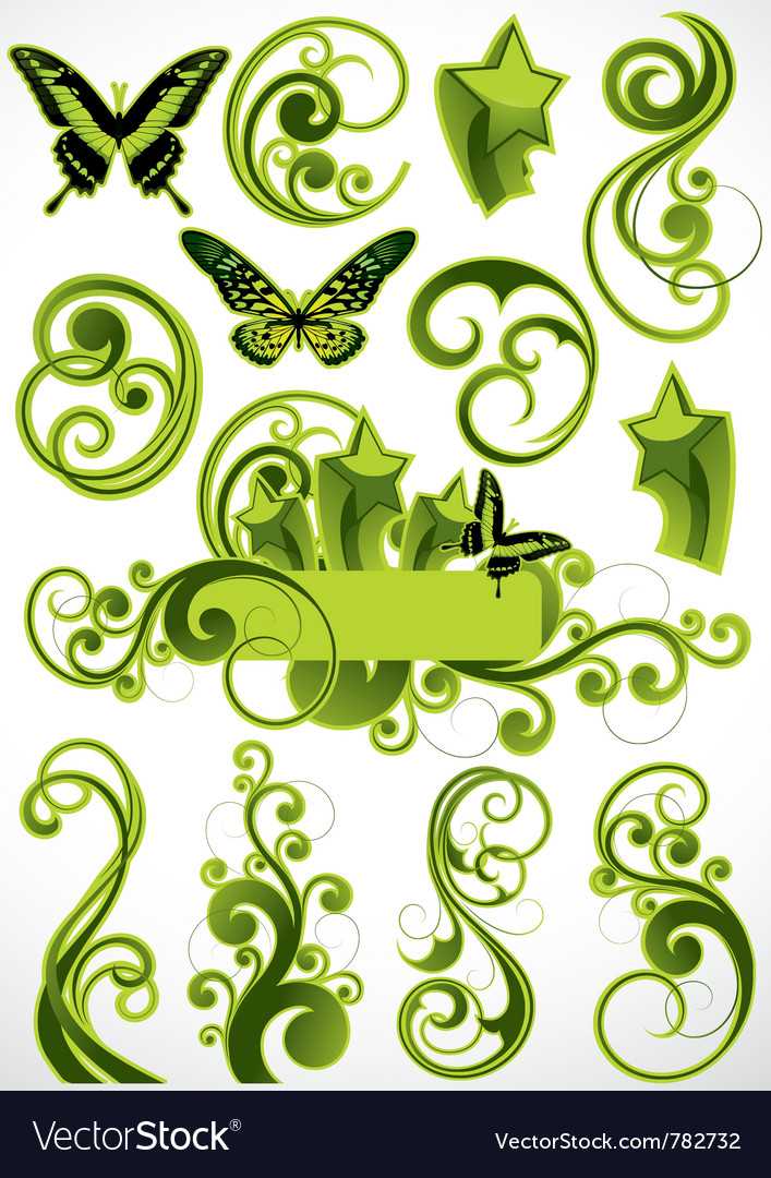 Green floral designs vector | Price: 3 Credit (USD $3)