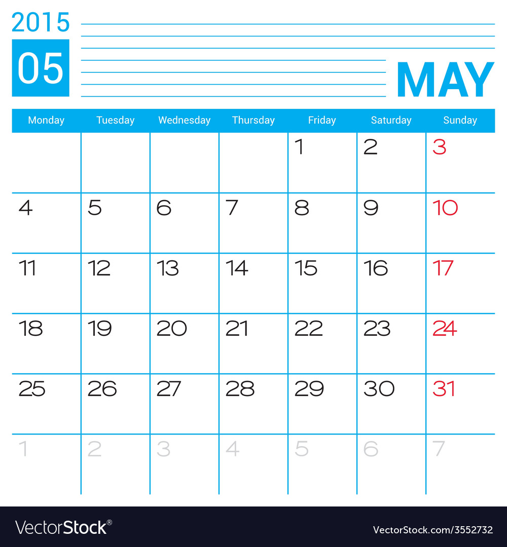 May 2015 calendar page template vector | Price: 1 Credit (USD $1)