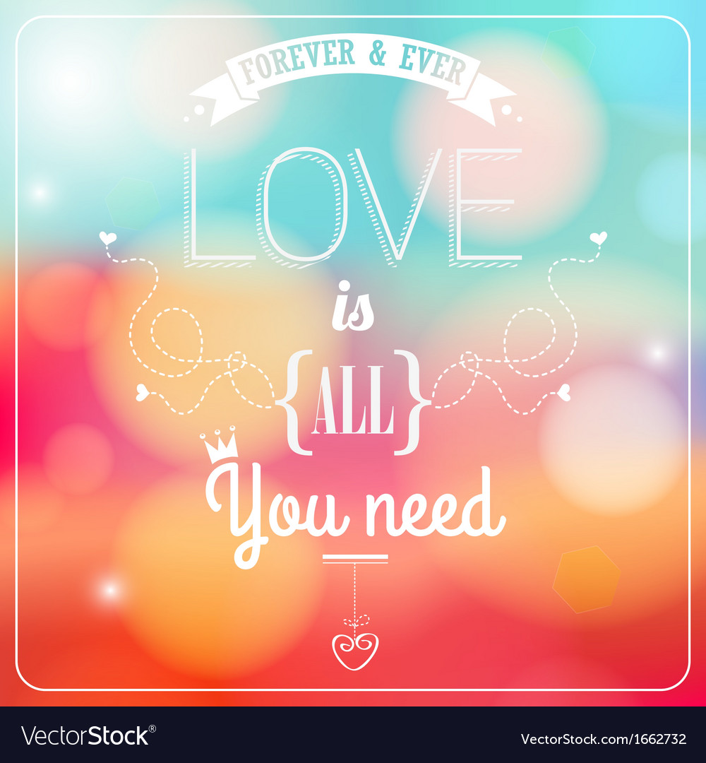 Romantic card on a soft blurry background vector | Price: 1 Credit (USD $1)