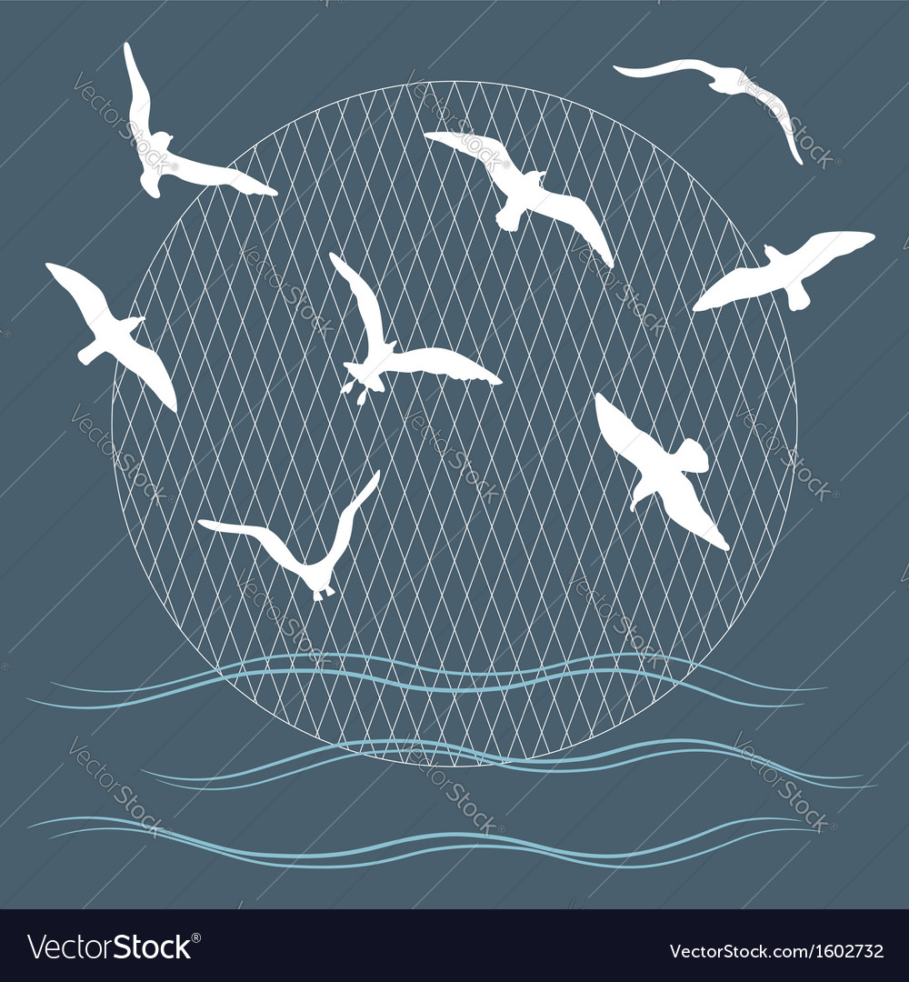 Seagulls over waves vector | Price: 1 Credit (USD $1)