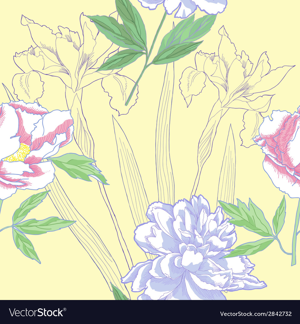 Seamless pattern with iris and peonies vector | Price: 1 Credit (USD $1)