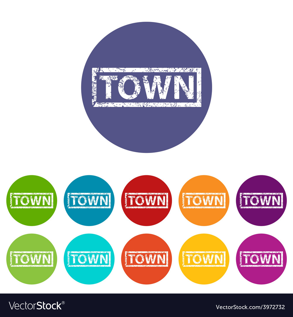 Town flat icon vector | Price: 1 Credit (USD $1)