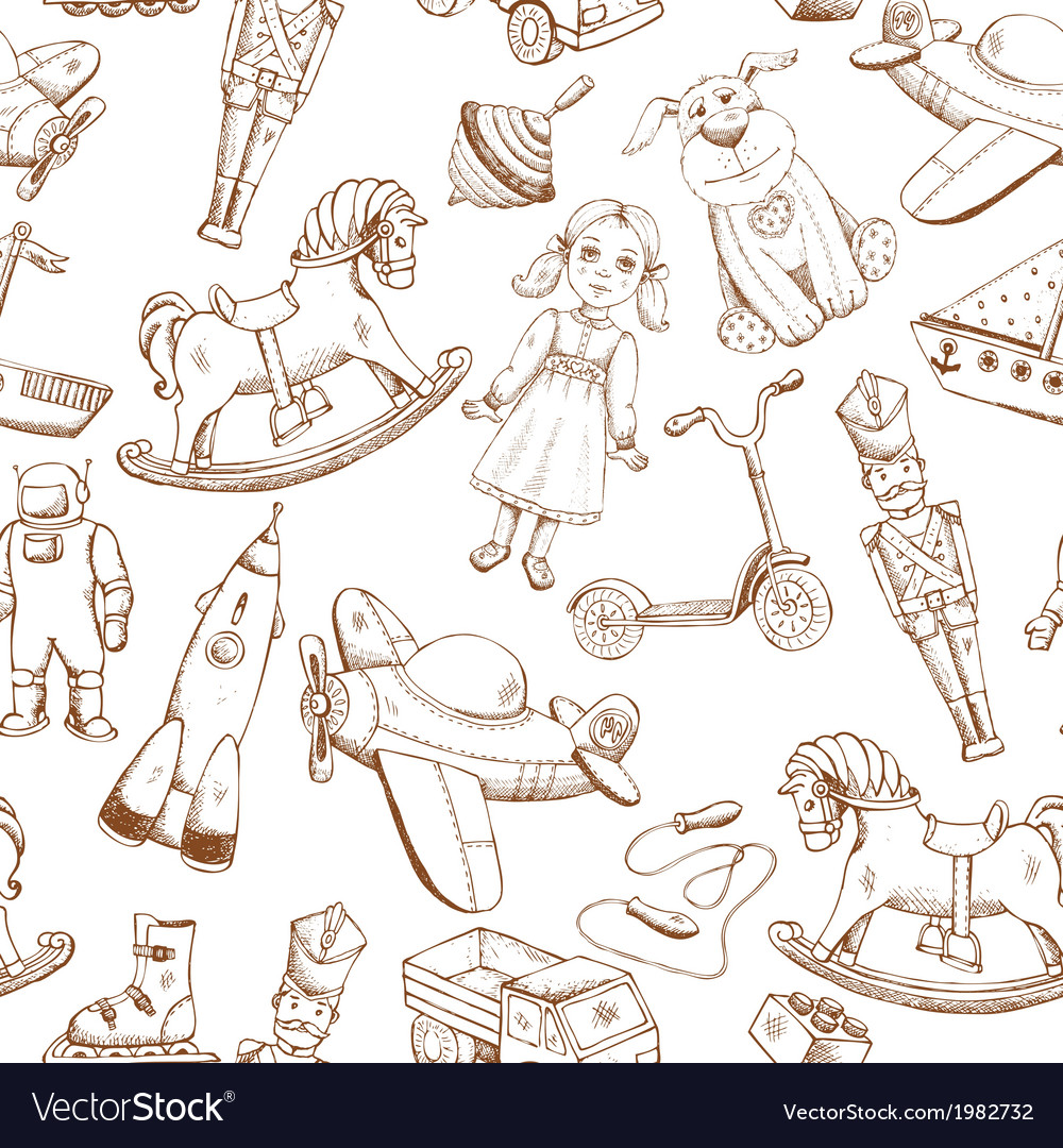 Vintage hand drawn toys pattern vector