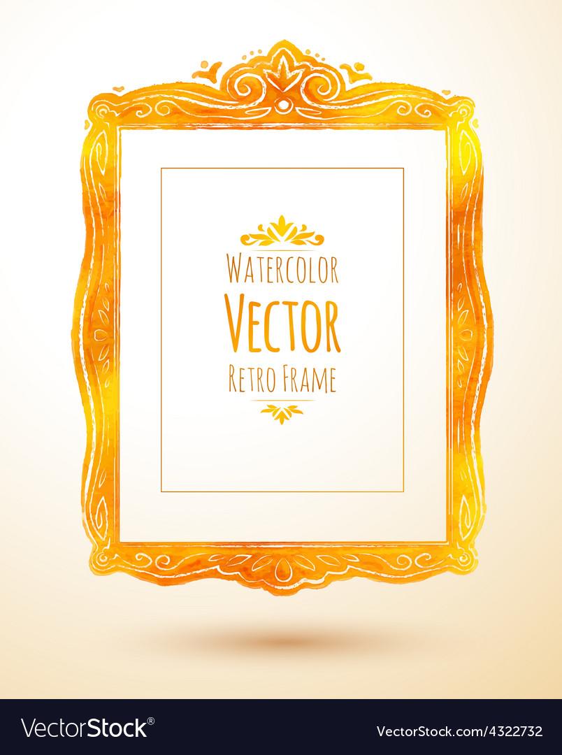 Watercolor golden vintage frame vector | Price: 1 Credit (USD $1)