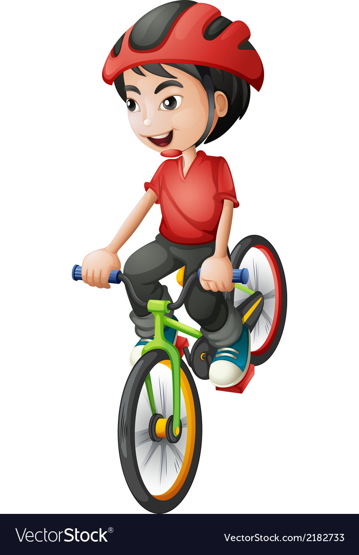 A boy riding his bike vector | Price: 1 Credit (USD $1)