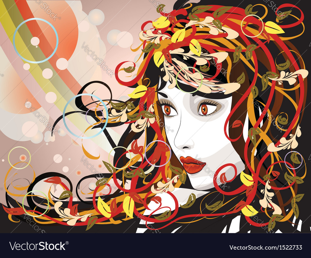 Beautiful autumn girl vector | Price: 1 Credit (USD $1)