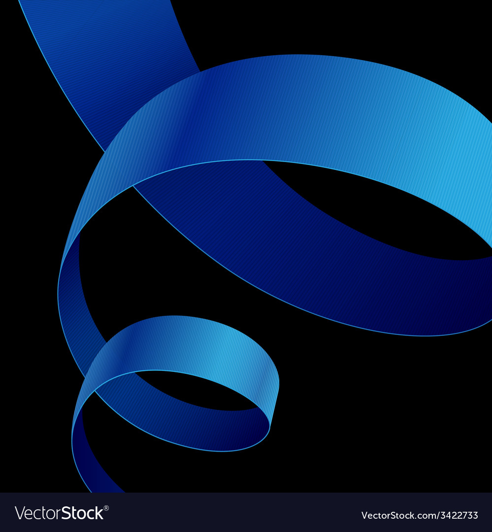 Blue fabric curved ribbon on black background vector | Price: 1 Credit (USD $1)