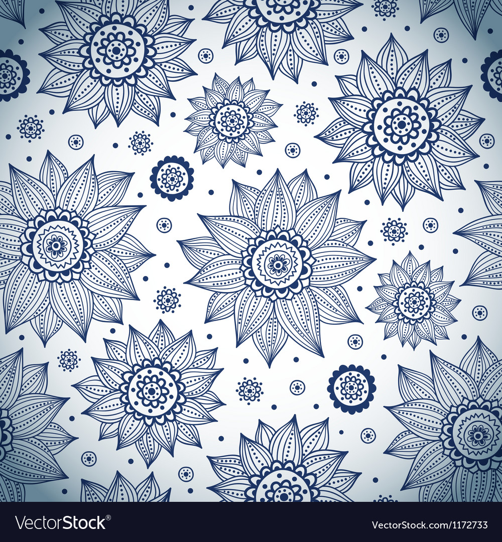 Blue sunflower pattern vector | Price: 1 Credit (USD $1)
