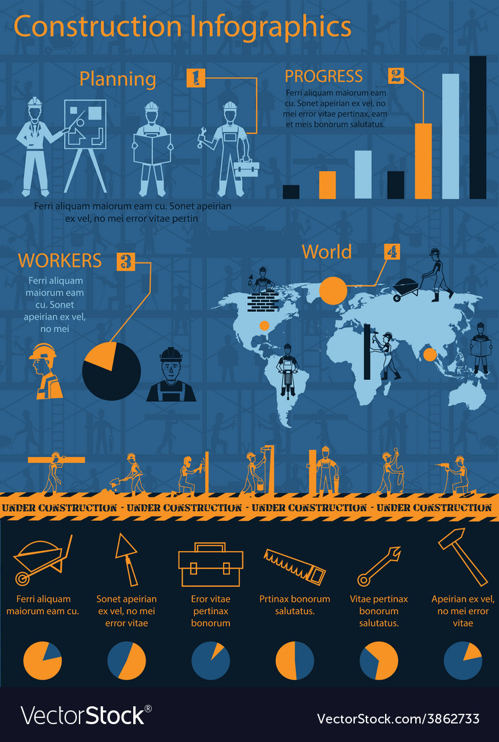 Construction infographics set vector | Price: 1 Credit (USD $1)