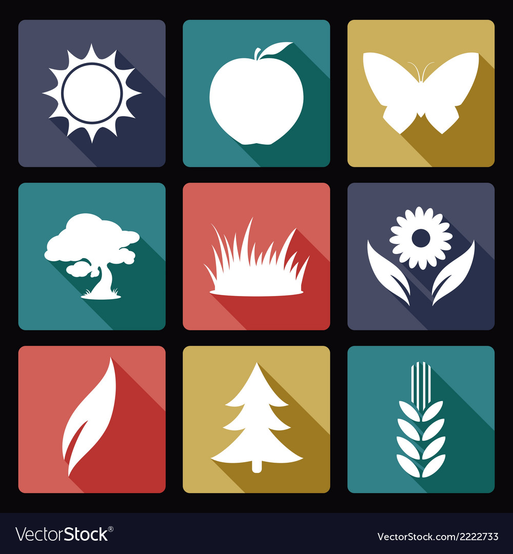 Nature flat icons vector | Price: 1 Credit (USD $1)