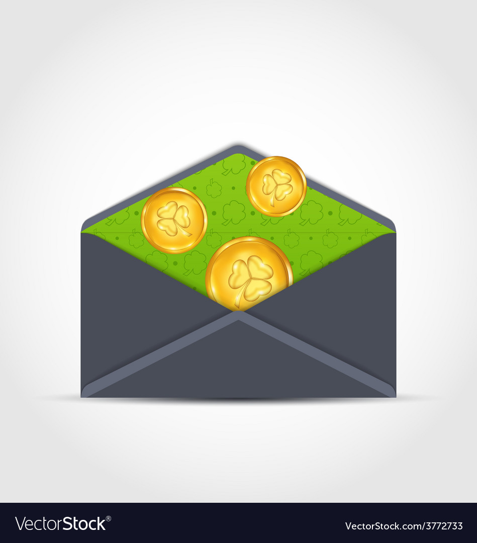 Open envelope with golden coins for st patricks vector | Price: 1 Credit (USD $1)