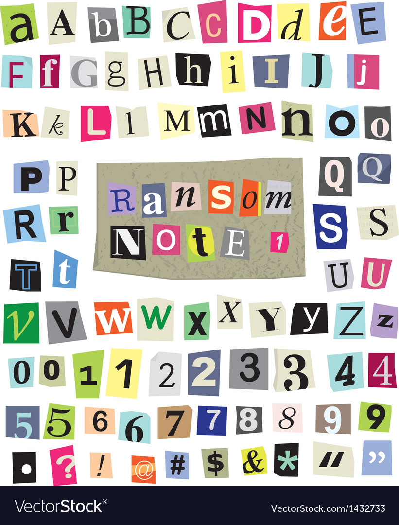 Ransom note 1- cut paper letters numbers vector | Price: 1 Credit (USD $1)
