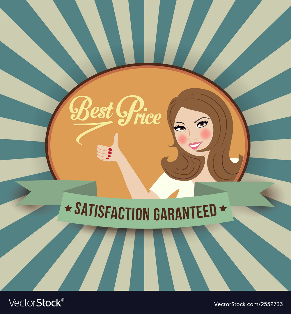 Retro illlustration with a woman and best price vector | Price: 1 Credit (USD $1)