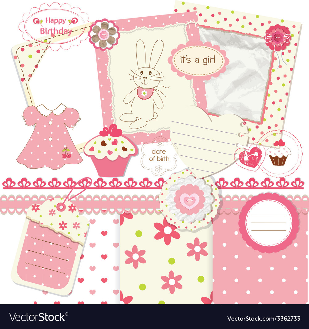Scrapbook set for baby girl vector | Price: 1 Credit (USD $1)