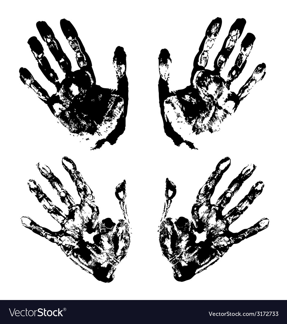 Set of black art hand prints grunge vector | Price: 1 Credit (USD $1)