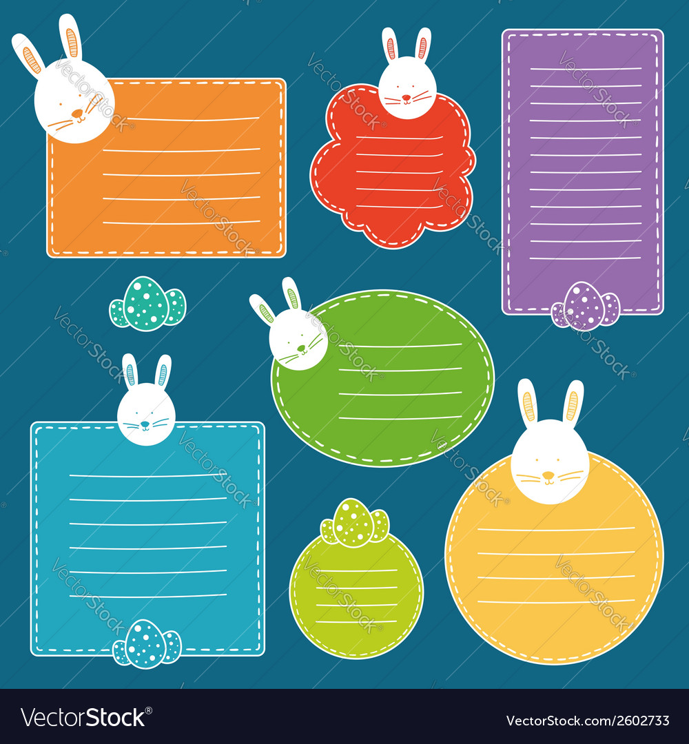 Set of tags with hand drawn easter bunny head and vector | Price: 1 Credit (USD $1)