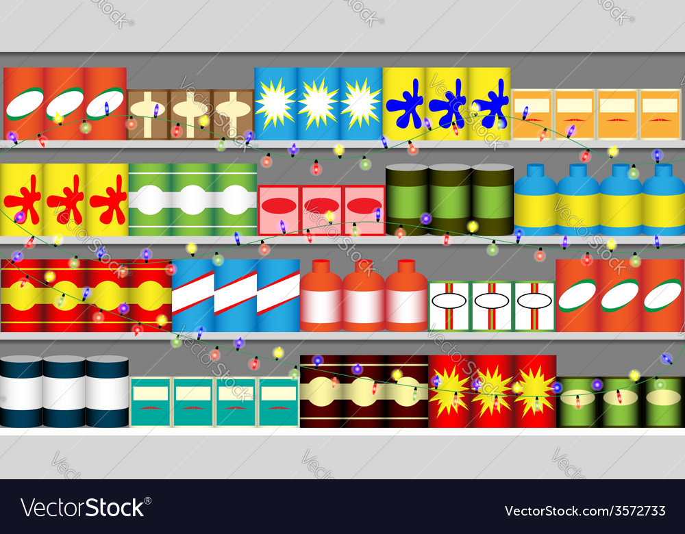 Supermarket shelves with garlands vector | Price: 1 Credit (USD $1)