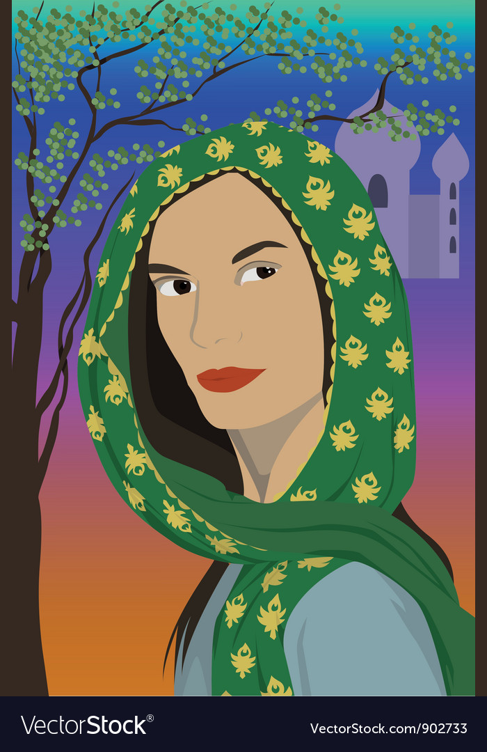 Woman in scarf vector | Price: 3 Credit (USD $3)