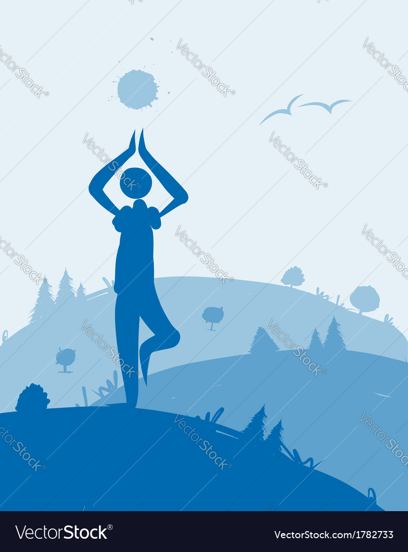 Yoga at dawn landscape for your design vector | Price: 1 Credit (USD $1)