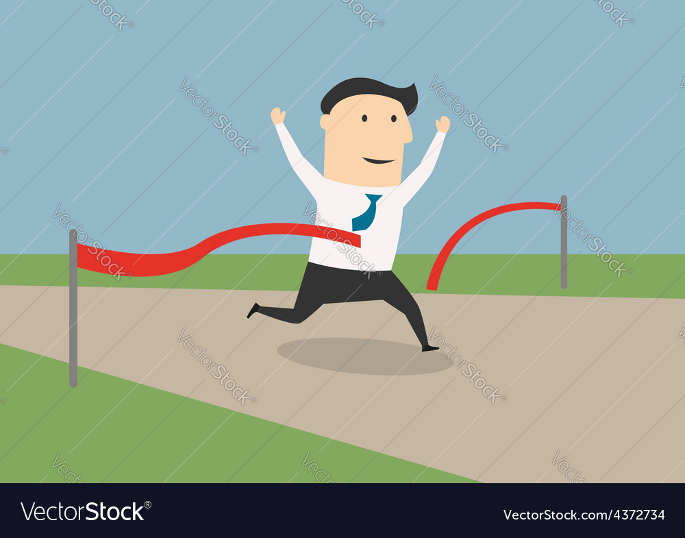 Businessman crossing the finish line vector | Price: 1 Credit (USD $1)