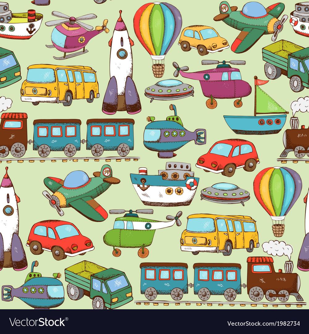 Cartoon transport pattern vector | Price: 1 Credit (USD $1)