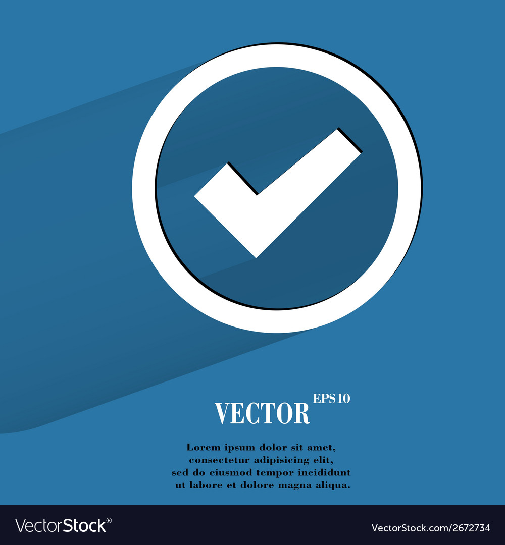 Check mark flat modern web button with long shadow vector | Price: 1 Credit (USD $1)