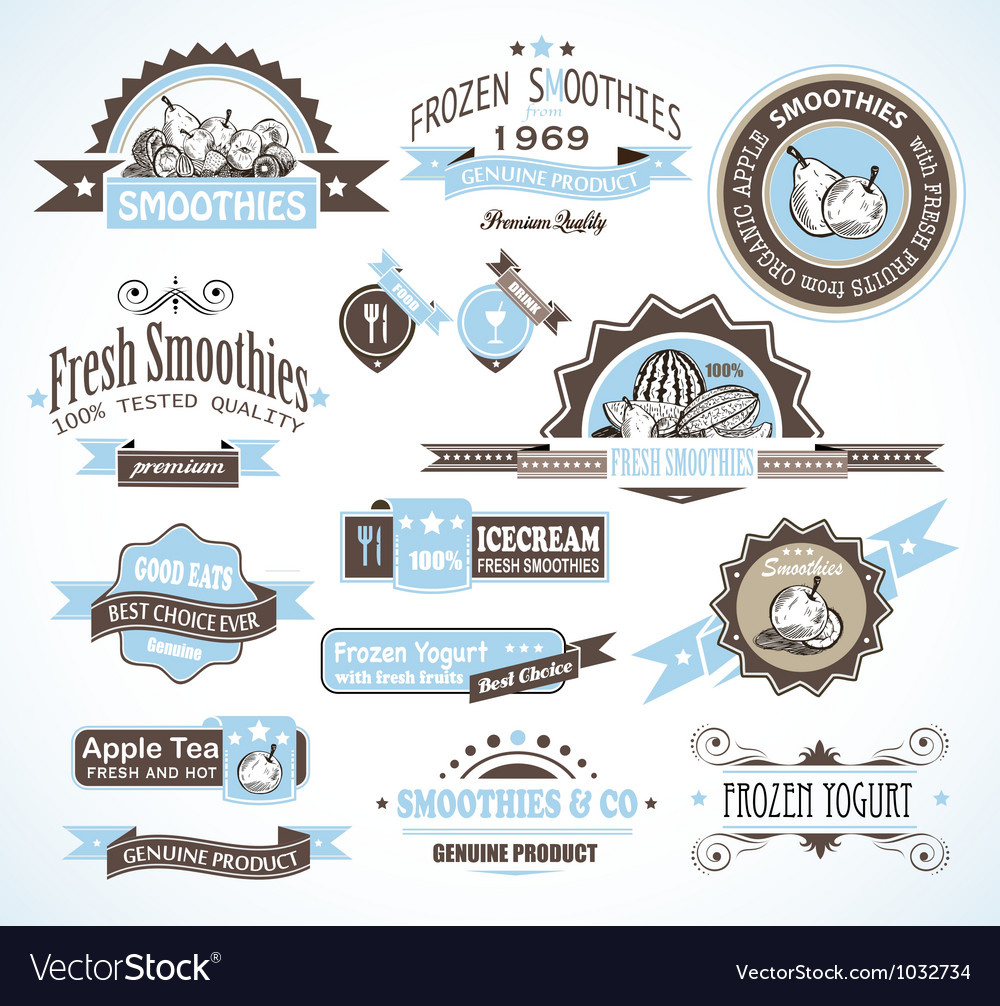 Diary beverage labels vector | Price: 1 Credit (USD $1)