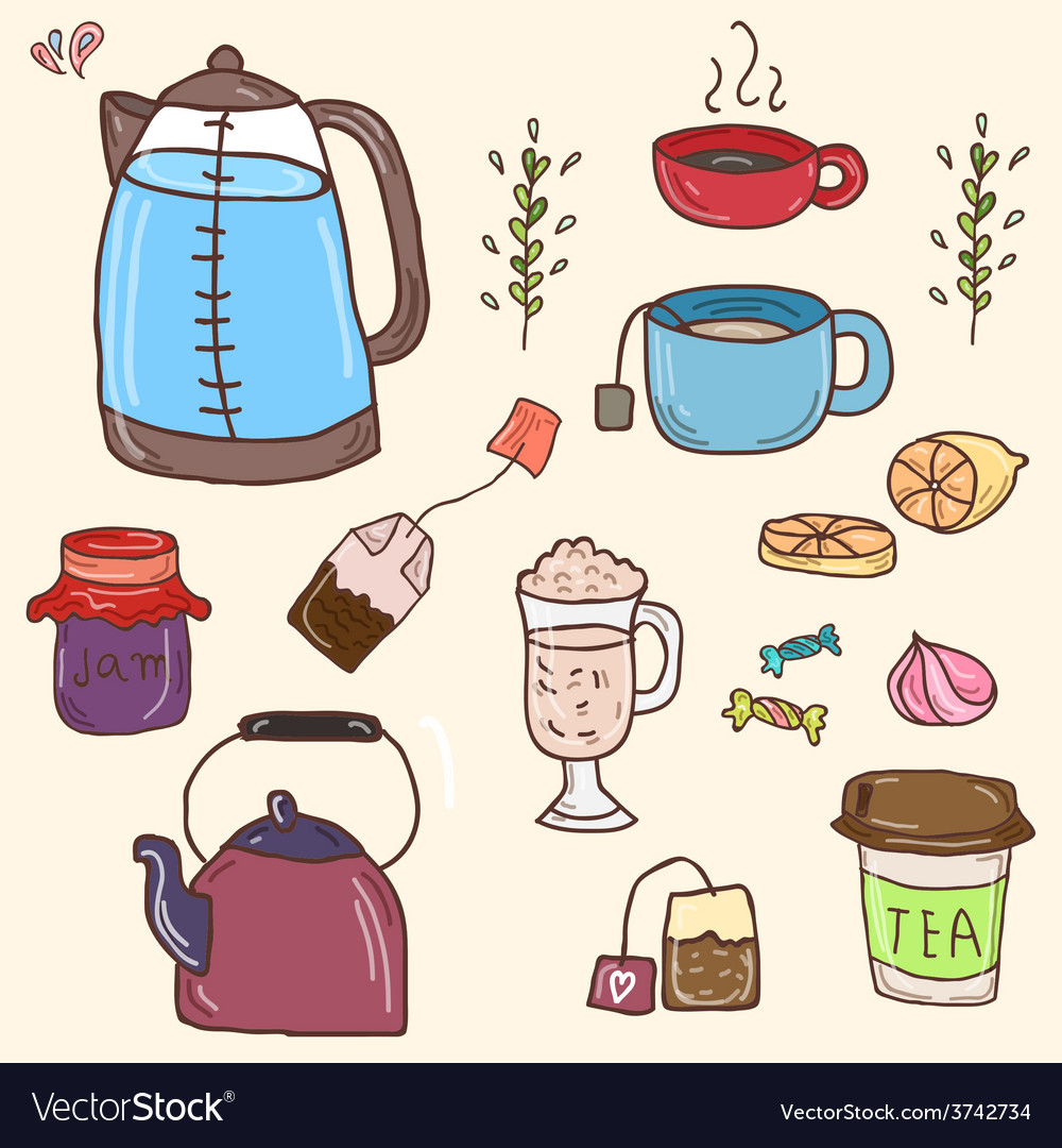 Hand drawn set of tea essentials - cups vector | Price: 1 Credit (USD $1)