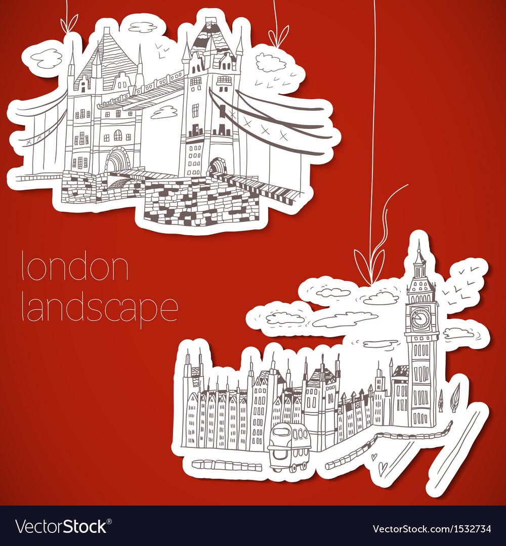 London-hand drawn landscape in vintage style vector | Price: 3 Credit (USD $3)
