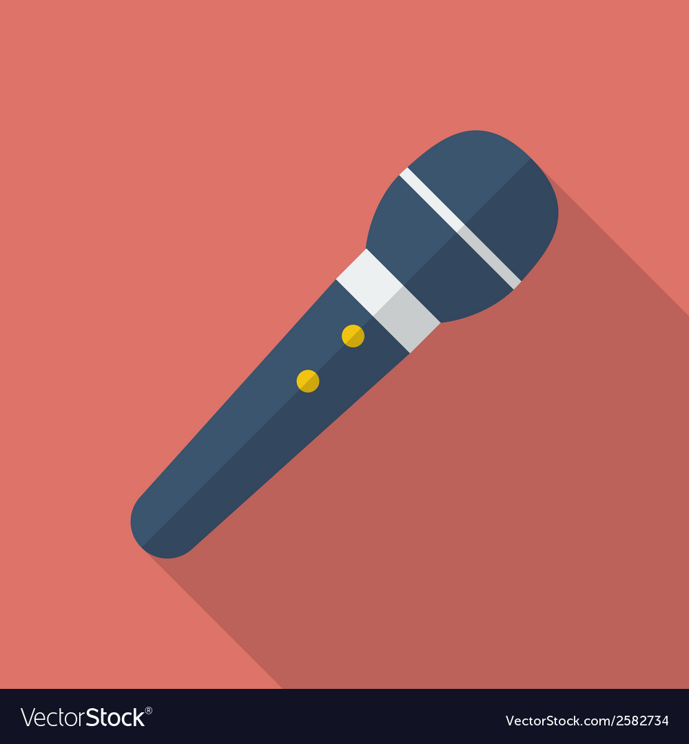 Microphone icon modern flat style with a long vector | Price: 1 Credit (USD $1)