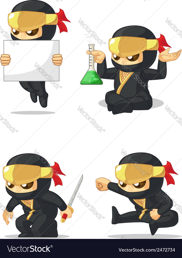 Ninja customizable mascot 7 vector | Price: 1 Credit (USD $1)