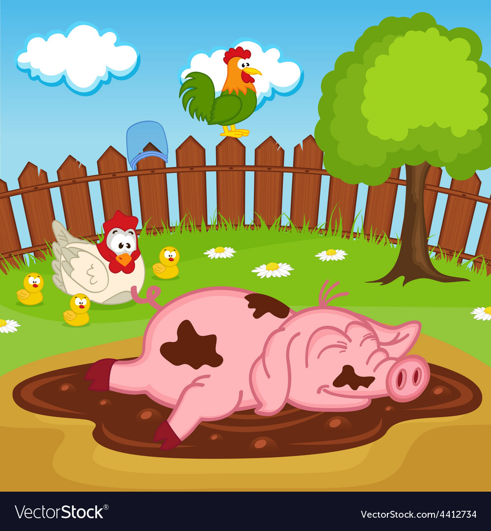 Pig sleeping in puddle vector | Price: 1 Credit (USD $1)