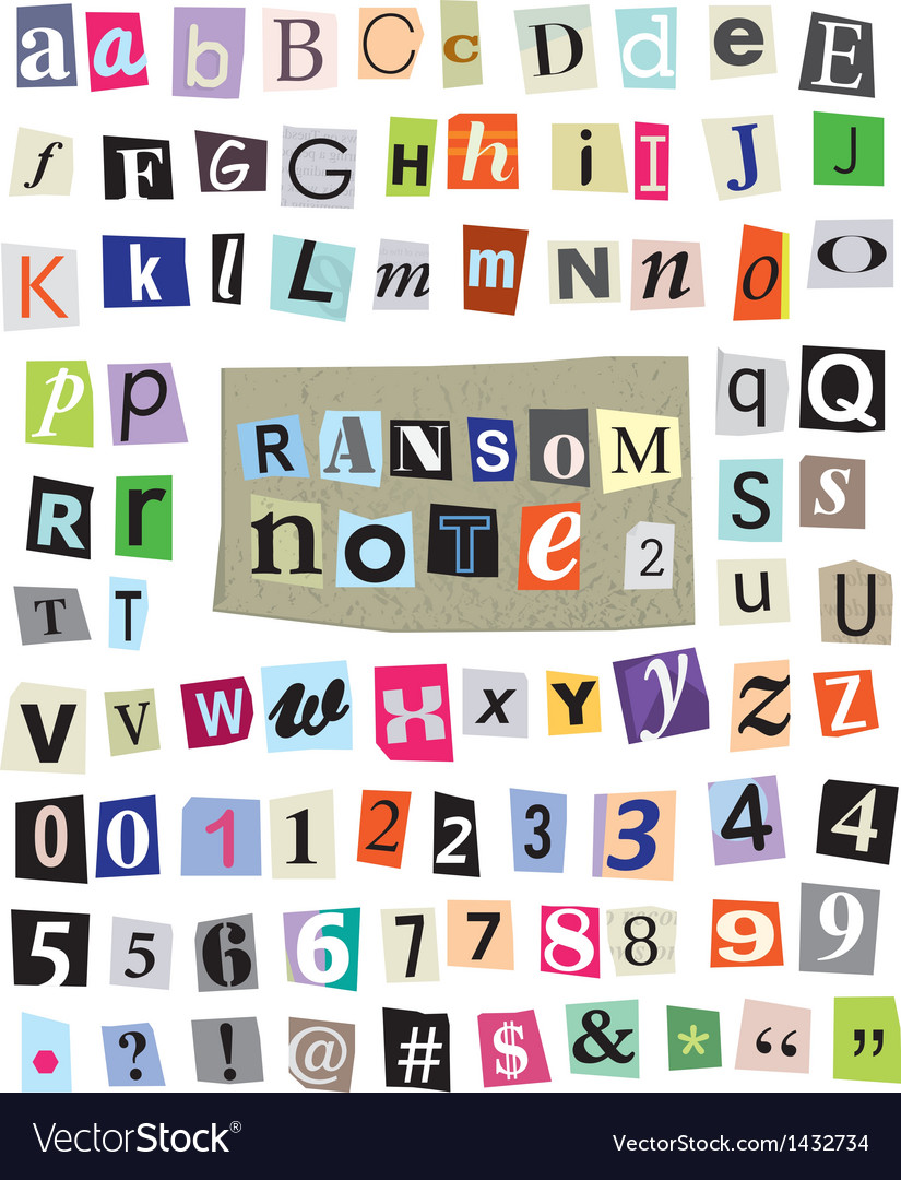 Ransom note 2- cut paper letters numbers vector | Price: 1 Credit (USD $1)