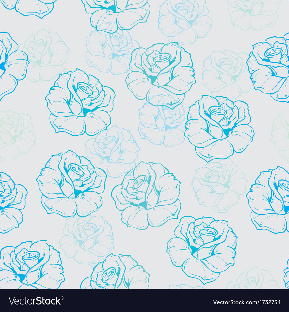 Seamless floral background with blue and mint rose vector | Price: 1 Credit (USD $1)