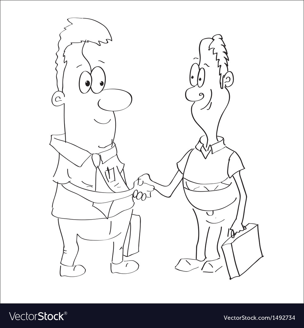 Sketch of a two businessmen shaking hands vector | Price: 1 Credit (USD $1)