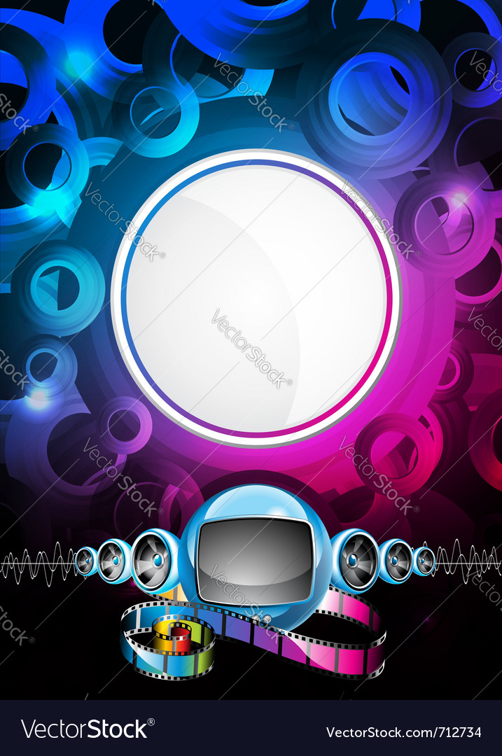 Speakers and futuristic television vector | Price: 1 Credit (USD $1)