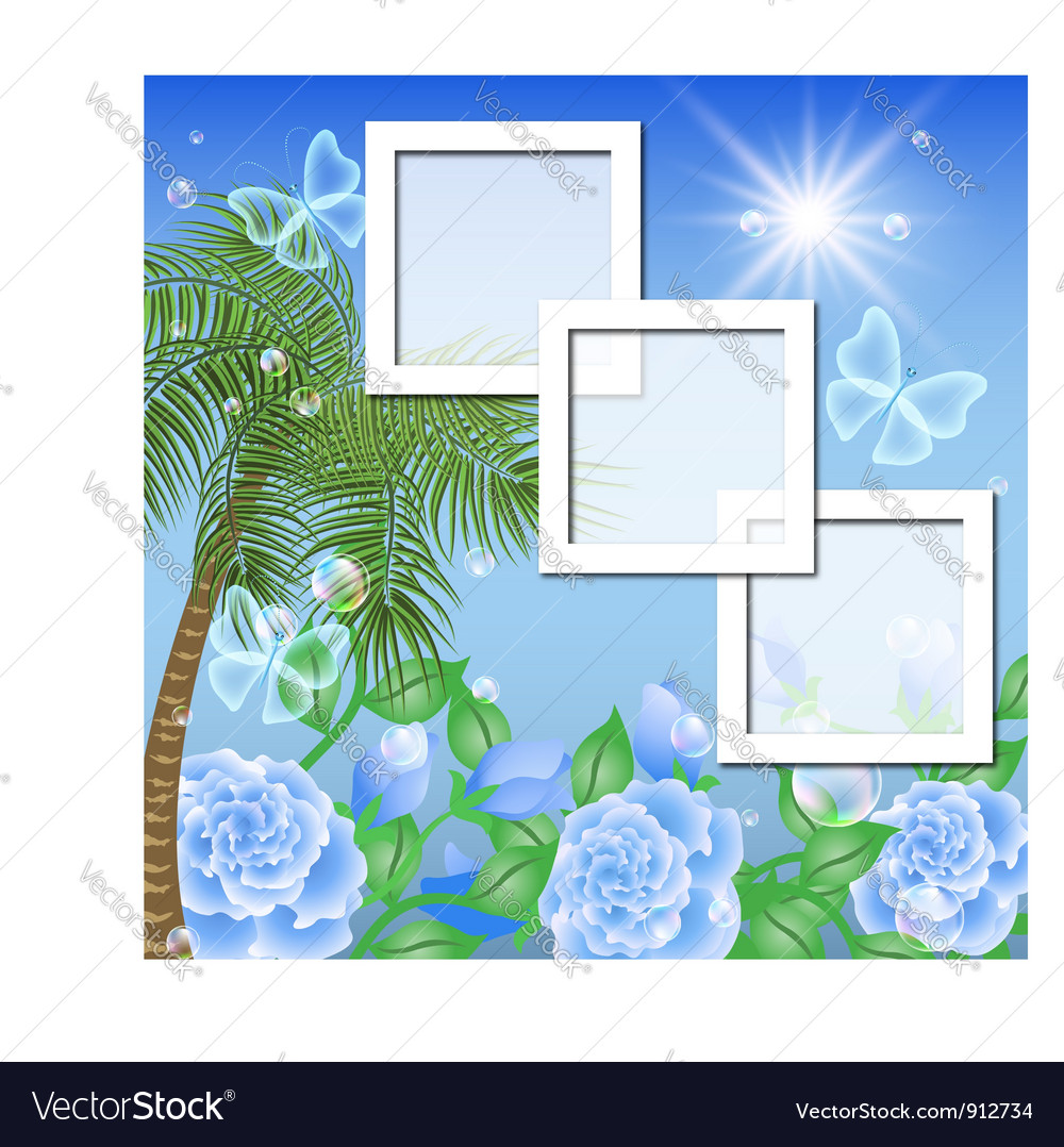 Tropical floral frame background vector   Price: 3 Credit (USD $3)