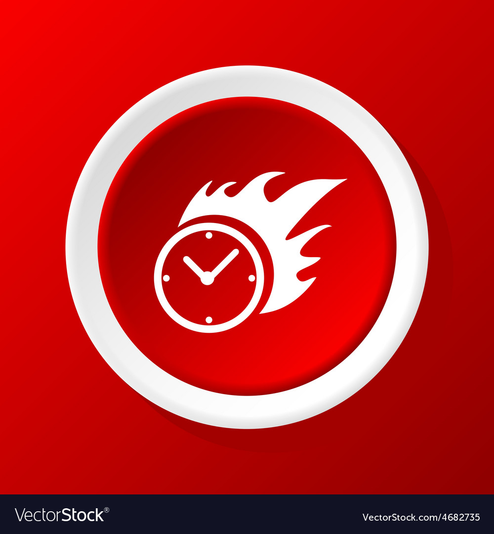 Burning clock icon on red vector | Price: 1 Credit (USD $1)
