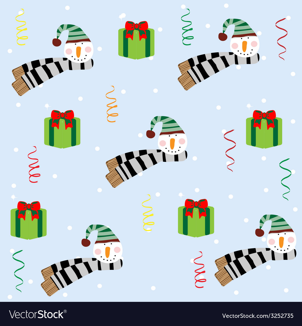 Christmas seamless pattern with snowman vector   Price: 1 Credit (USD $1)