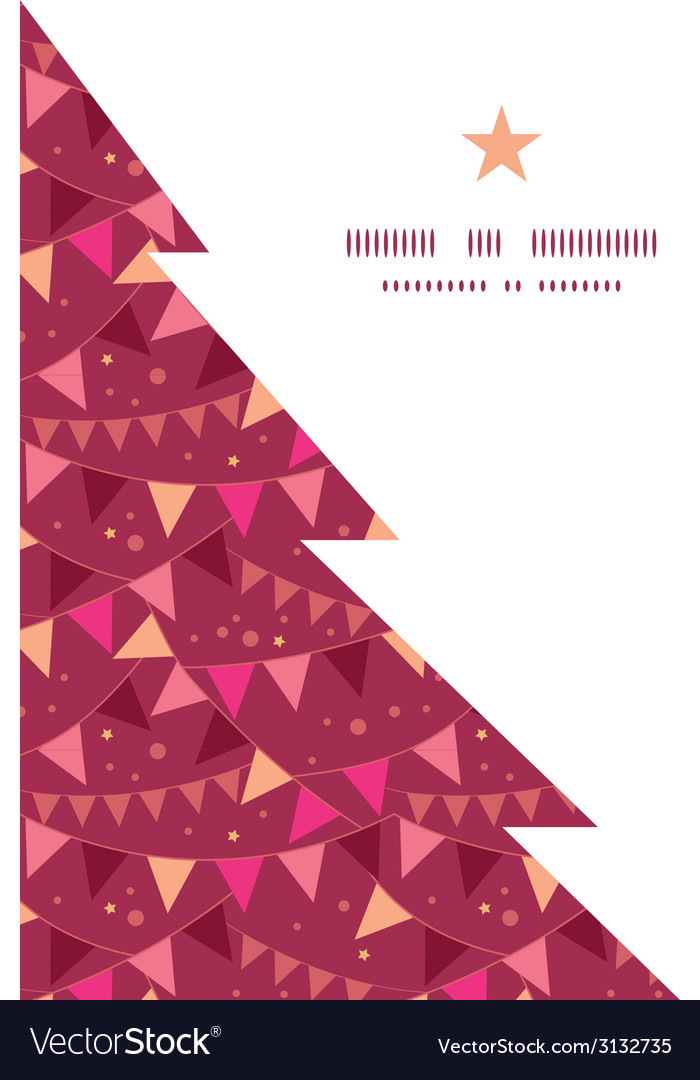 Decorations flags christmas tree silhouette vector | Price: 1 Credit (USD $1)