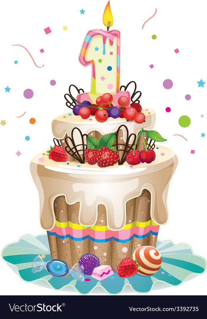 Happy birthday cake 1 vector | Price: 3 Credit (USD $3)